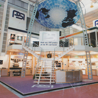 A metal exhibition stand
