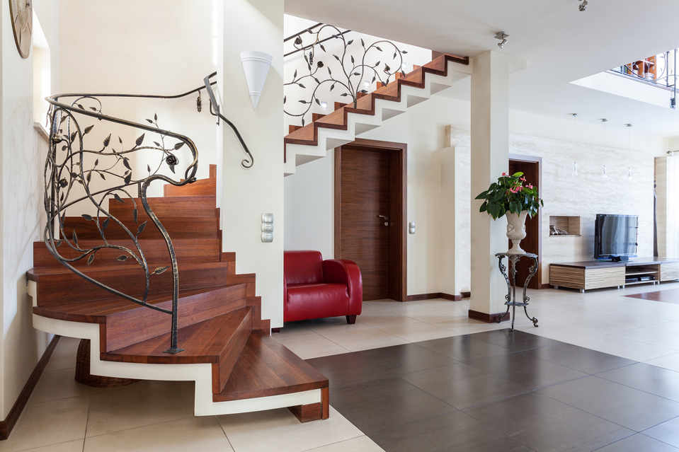 A custom steel and wood staircase